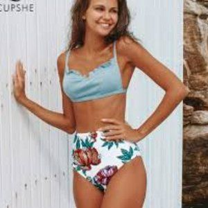 Baby Blue Floral High Waisted Bikini Set Sz L